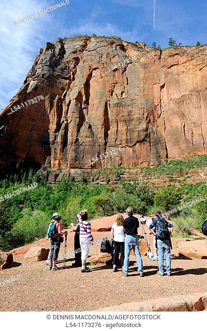 Visitors Talk with Female Ranger Big Bend Area Mount Zion National Park Utah