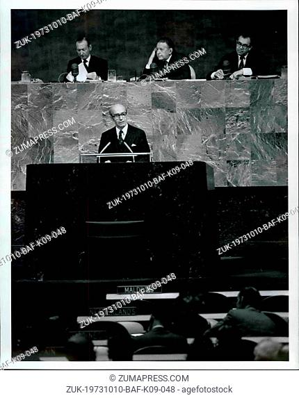 Oct. 10, 1973 - General Assembly continues general debate: Ministers of seven governments Austria, Syria, Venezuela, Czechoslovakia, Laos