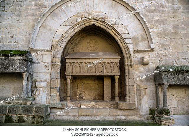 Elevated ancient tombs outside the church of Vallbona de les Monges catalonia