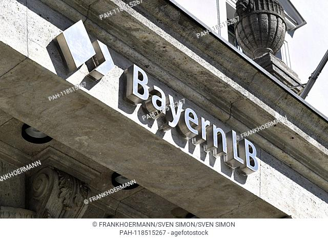 BayernLB writing, emblem at the headquarters headquarters, building, balance sheet press conference Bayern LB, BayernLB on 21.03.2019