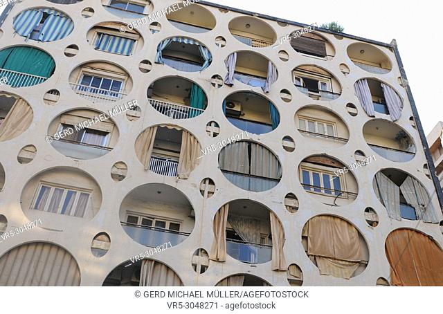 Lebanon: A builiding in Beirut with round windows