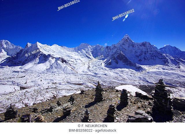 view from pre-summit of Chhukhung Ri to glacier Chhukhung and Ama Dablam, Nepal, Himalaya, Khumbu Himal