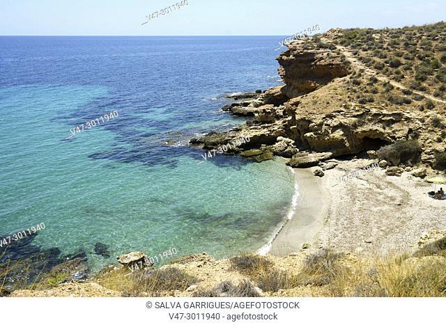 Lonely cove, virgin beach of Mazarrón, Murcia, Spain