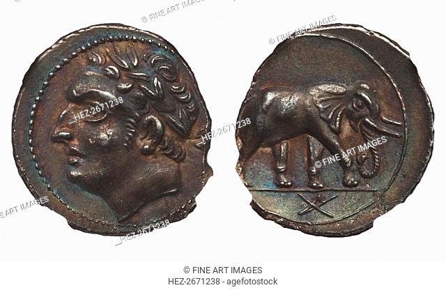Coin of Hannibal Barca. Carthage. (Obverse: Hannibal, Reverse: Elephant), ca. 213-210 BC