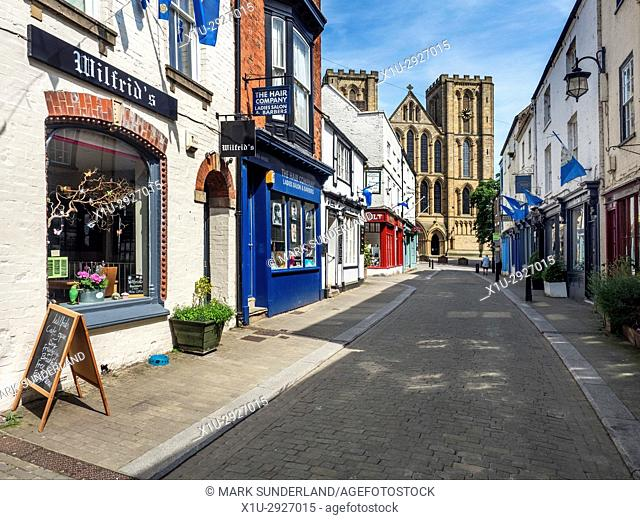Ripon Cathedral from Kirkgate in Ripon North Yorkshire England