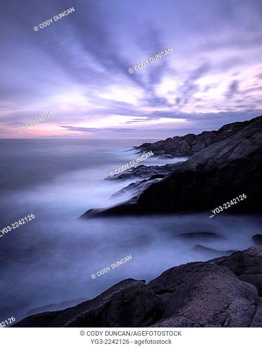 Rocky coastline of Moskenesøy, Lofoten Islands, Norway
