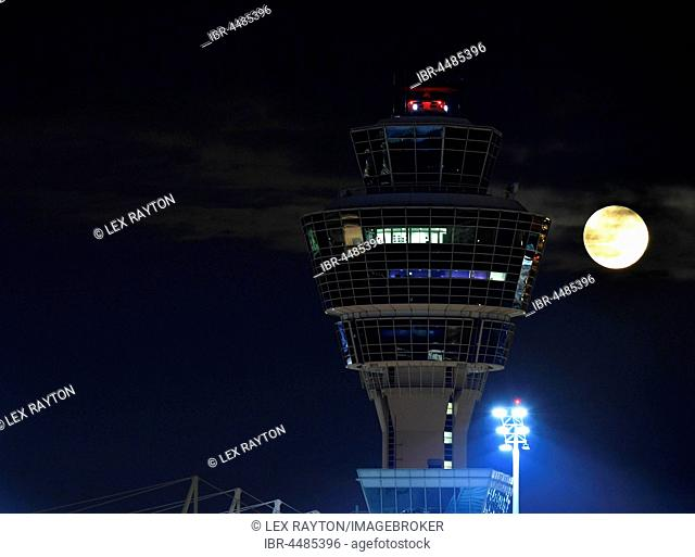 Tower with full moon, Terminal 1, Munich Airport, Upper Bavaria, Bavaria, Germany