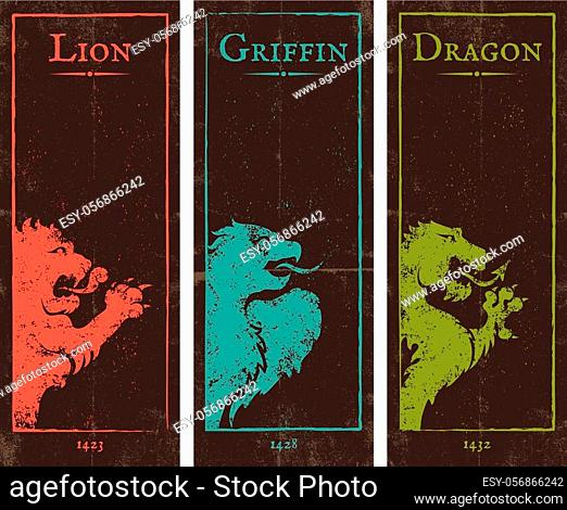 Vector set vintage posters with lion, griffin and dragon