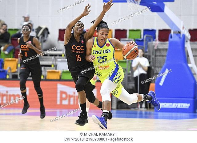 From right ALYSSA THOMASOVA of USK Praha and TIFFANY HAYES of Polkowice in action during the European women's basketball league, 7th round