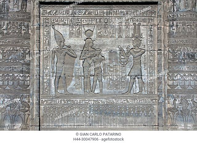 Dendera Egypt, ptolemaic temple dedicated to the goddess Hathor. Carvings on external wall of the mammisi