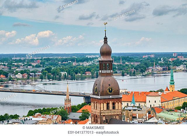 Panorama of Riga with the dome of the Dome Cathedral on a summer day