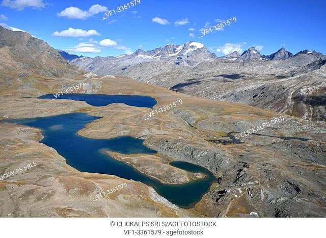 Leita' and Rosset lakes with Gran Paradiso on background, Aosta Valley, Italy