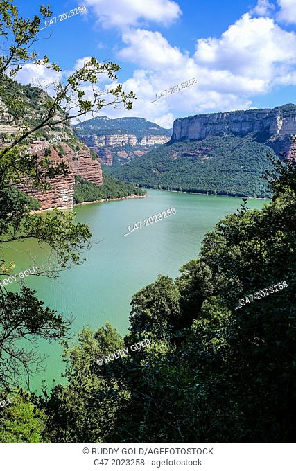 Catalunya, Spain, Girona province, Osona area, Sau reservoir at near full capacity over Ter river near Sant Romà de Sau. The reservoir has 17 kilometers long...