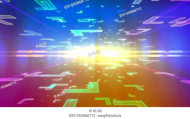 Op art 3d illustration of a blue and violet background with flying corners of diverse sizes located on two surfaces of a holographic cyberspace and dashing to a...