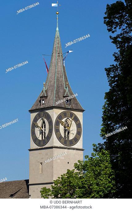 View on church tower of St. Peter, Grossmünsterplatz, old town, Zurich, Canton of Zurich, Switzerland