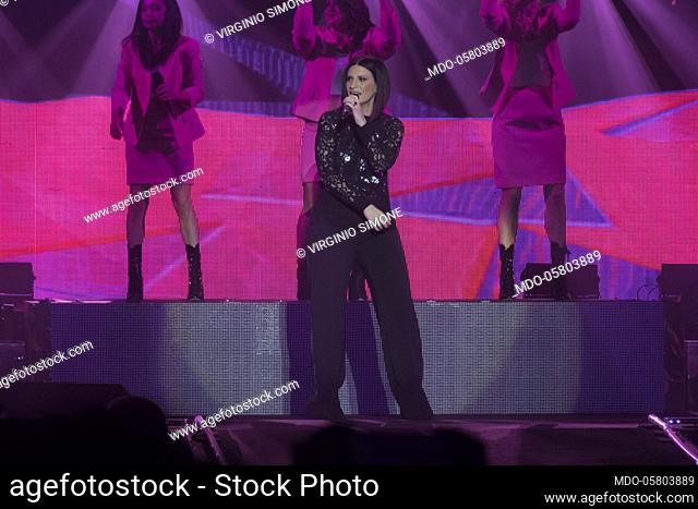 Laura Pausini in concert. In the picture: Laura Pausini on stage, during her concert at the Forum di Assago. Milan, September 9th, 2018
