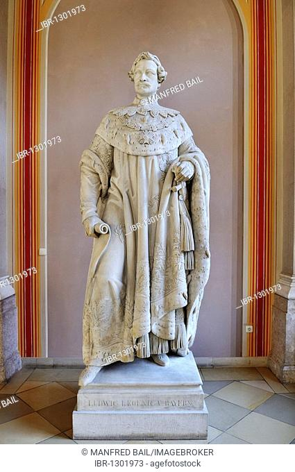 Bavarian State Library, first floor, statue of Louis the First, King of Bavaria, Munich, Bavaria, Germany, Europe