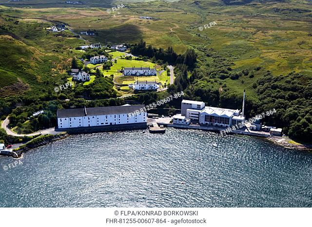 Aerial view of coastline with village and whisky distillery, Caol Ila Distillery, Sound of Islay, Isle of Islay, Inner Hebrides, Scotland