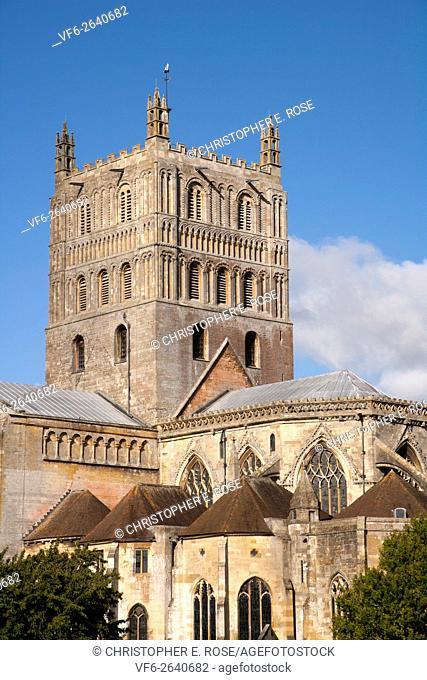 September sunshine on historic Tewkesbury Abbey, Gloucestershire, UK