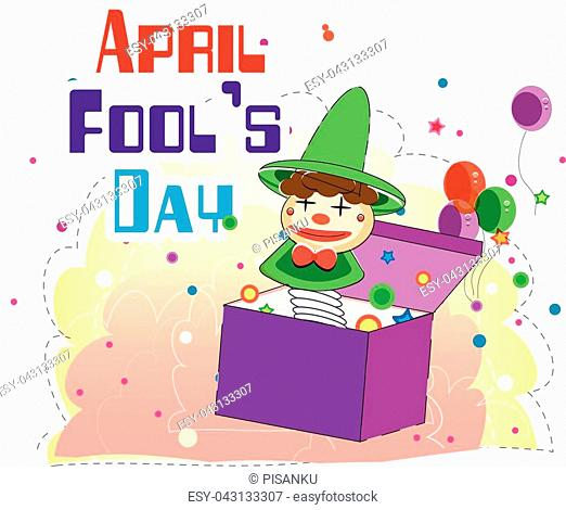 April Fools Day A Jester Box Balloon Background Vector Image