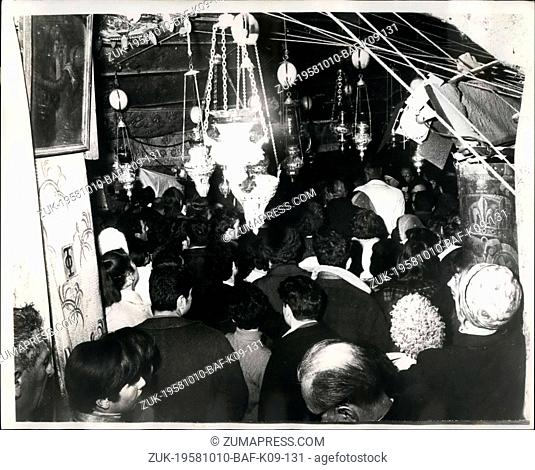 Oct. 10, 1958 - ----- Ceremony In ----: For the escorted the Central ceremonies of Christmas in Beneath were celebrated under Israeli Charge