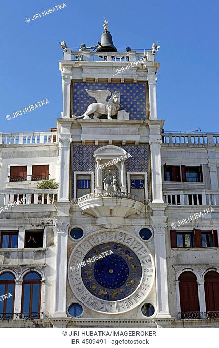 Clock tower Torre dell Orologio with astronomical clock, St. Mark's Square, Piazza San Marco, Venice, Italy