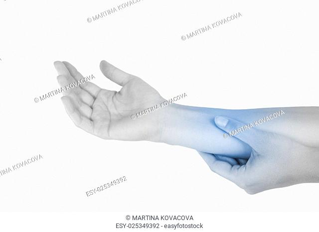 Mouse elbow. Repetitive stress injury. Forearm muscle strain. Female hand touching forearm isolated on white background