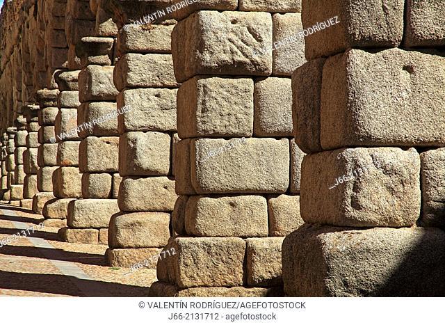 first century Roman aqueduct in the street Mon Cañuelos. Segovia