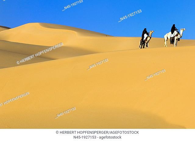 Tuaregs riding Camels; Libyan Arab Jamahiriya; Libyan Desert