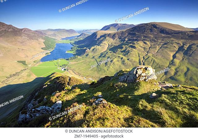 Lake Buttermere at Sunrise from the summit of Fleetwith Pike in the Lake District, England, UK