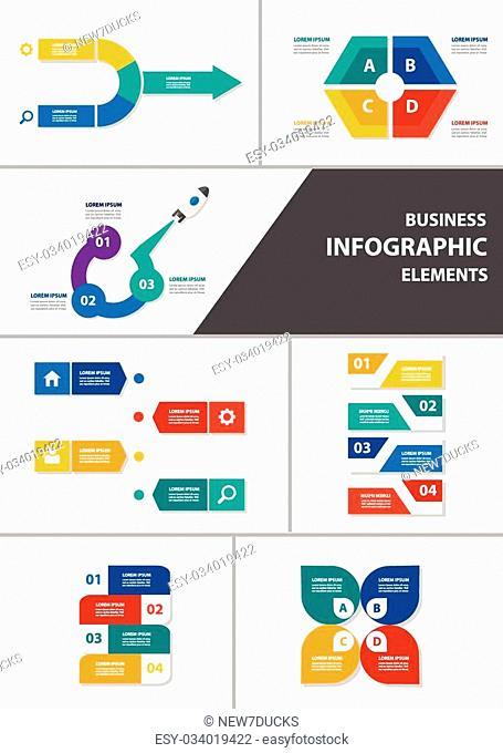 Colorful Infographic elements presentation template flat design set for brochure flyer leaflet marketing advertising set 5