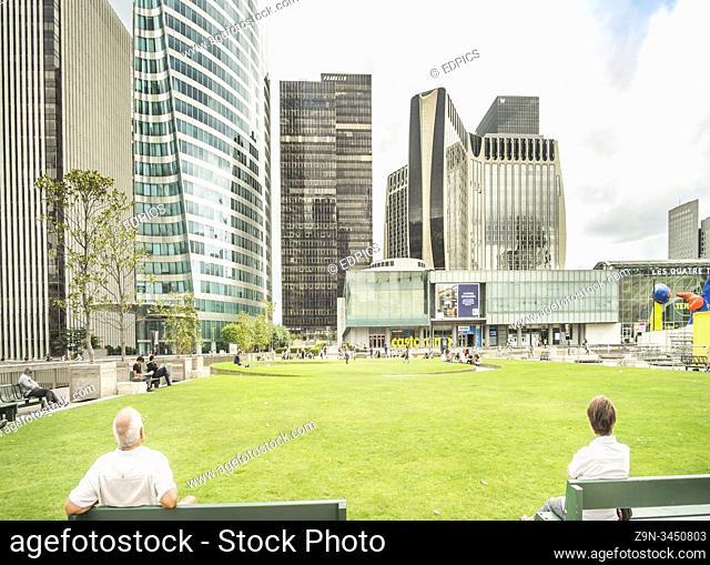 high-rise office buildings at la defense, paris, ile de france, france