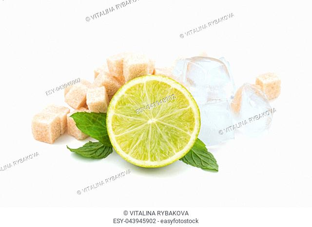 Mojito cocktail ingredients. Isolated on white background