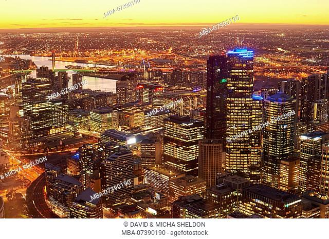 View from the Eureka Tower over the Yarra River and the Rialto Towers, Melbourne, Victoria, Australia, Oceania