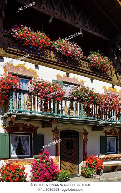 Germany, Bavaria, Upper Bavaria, Werdenfels, Garmisch-Partenkirchen, District Garmisch, old House, Balcony Flowers