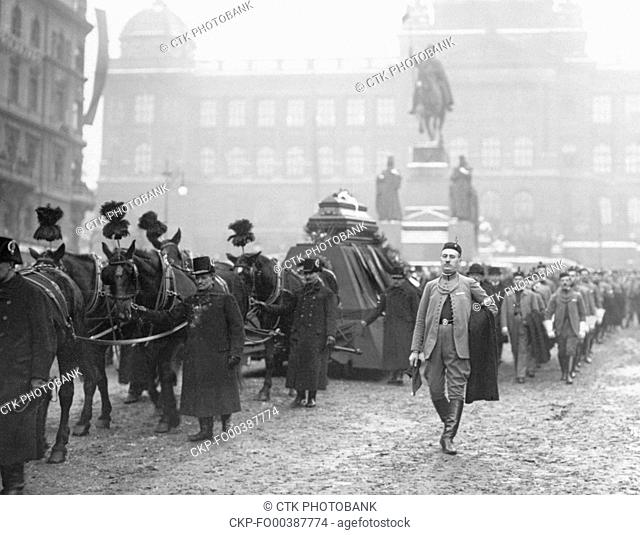 Funeral of Czech politician, economist and Czechoslovak Minister of Finance Alois Rasin in Prague, Czechoslovakia, February, 1923