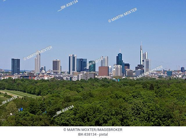 Frankfurt skyline, Deutsche Bank, Commerzbank, Messeturm tower block, German Central Bank, horse track and Niederrad golf course in foreground, Hesse, Germany