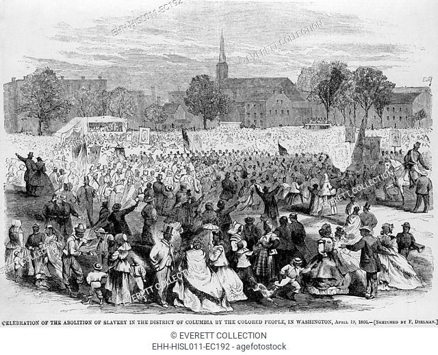 On April 19, 1866, African Americans staged a huge celebration of the fourth anniversary of the District of Columbia's Emancipation Act