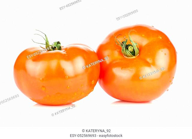 Two red tomato with vine ends isolated on white background fresh whole