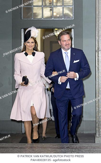 Princess Madeleine and Chris O'Neill of Sweden attend the Te Deum mass at the royal chapel of the Royal Palace in Stockholm, Sweden, 30 April 2016