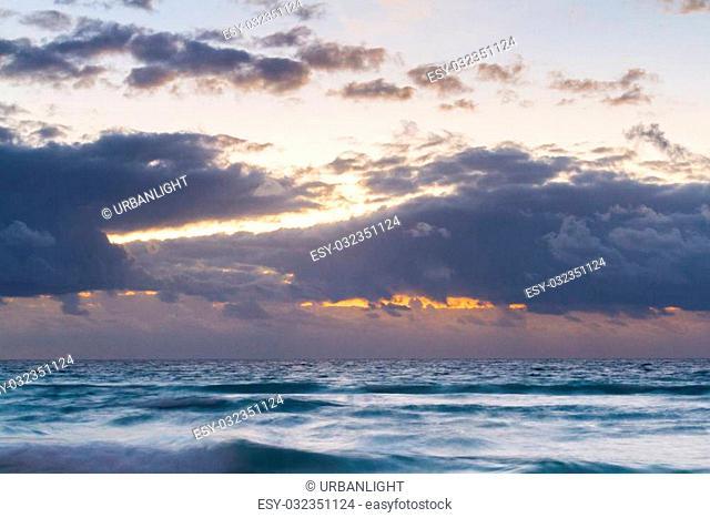Sunset over the beach on Caribbean Sea