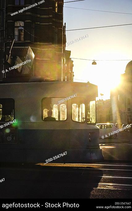 Gothenburg, Sweden A tram on Vasaplatsen in the eraly morning and silhouette
