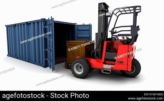 forklift truck loading a container