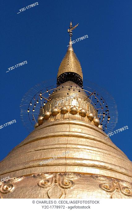 Myanmar, Burma  Top of Shwezegon Shwezigon Pagoda, near Bagan