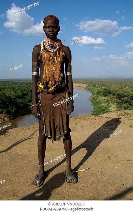 Girl at Omo river, Karo tribe, South Ethiopia