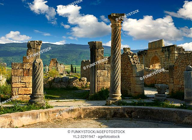 Main entrance of a Roman Villa in Volubilis Archaeological Site, near Meknes, Morocco