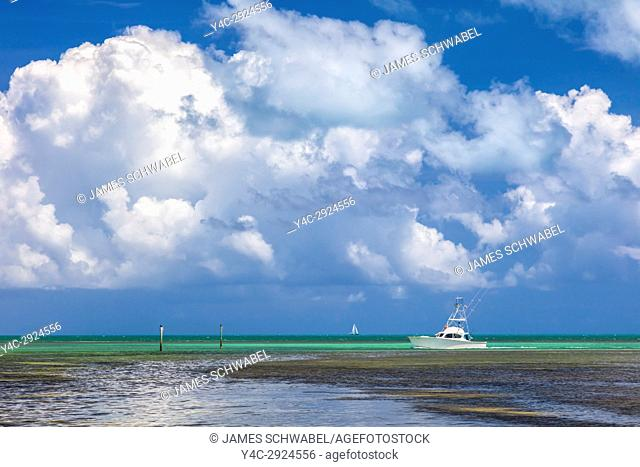 Boat in Atlantic Ocean off the Florida Keys