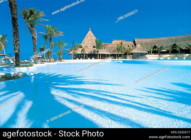 Mauritius: A giant hotel pool in a luxury hotel on the holiday island in the indian ocean