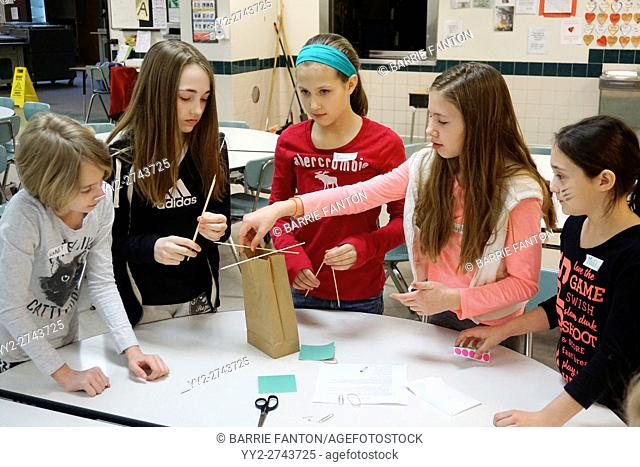 Students Working at Creative Problem Solving Exercise, Wellsville, New York, USA