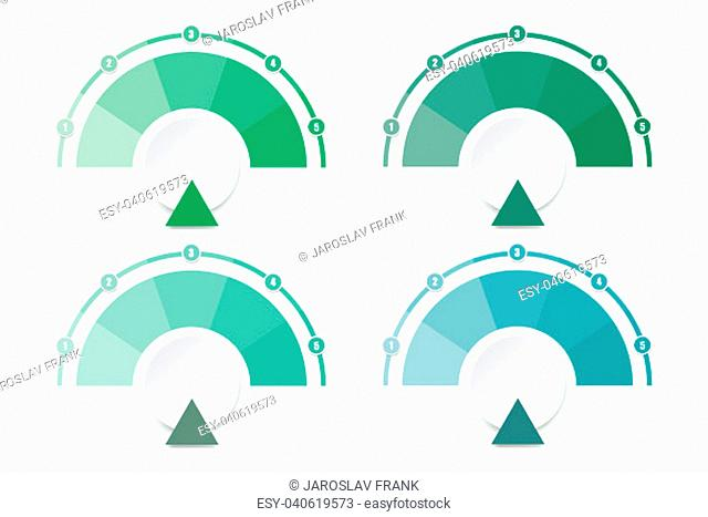 Set of four infographic diagrams ready for your text in shades of green color